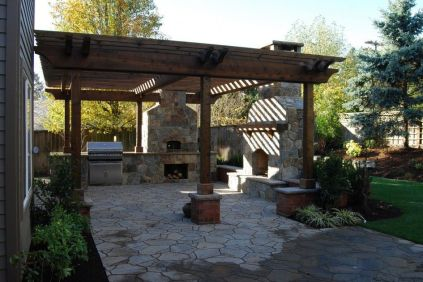 Romantic rustic outdoor kitchen designs with fireplace 36