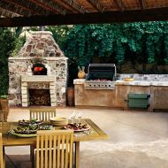 Romantic rustic outdoor kitchen designs with fireplace 39