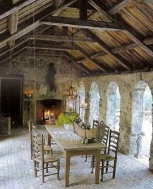 Romantic rustic outdoor kitchen designs with fireplace 42