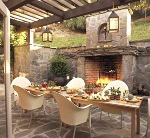 Romantic rustic outdoor kitchen designs with fireplace 49