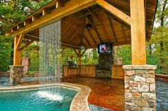 Romantic rustic outdoor kitchen designs with fireplace 53