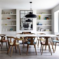 Elegant industrial metal chair designs for dining room 17