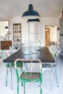 Elegant industrial metal chair designs for dining room 27