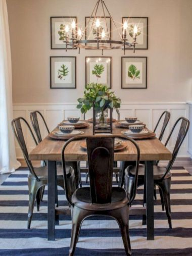 Elegant industrial metal chair designs for dining room 30
