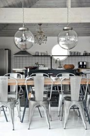 Elegant industrial metal chair designs for dining room 40