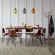 Elegant industrial metal chair designs for dining room 46