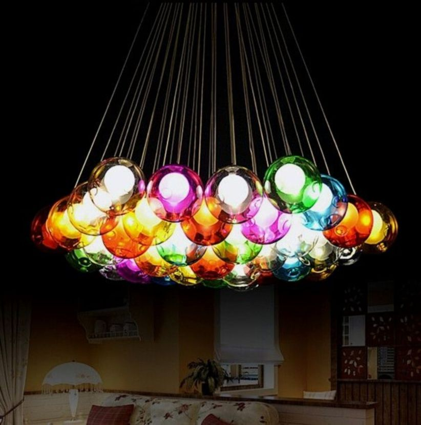 Fascinating colorful glass pendant lamps ideas for your kitchen 06