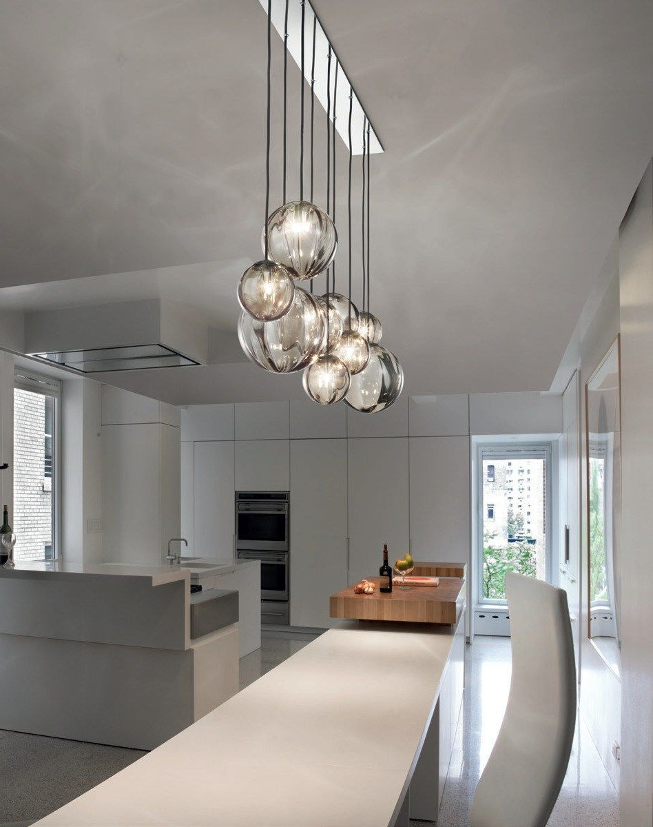 Fascinating colorful glass pendant lamps ideas for your kitchen 12