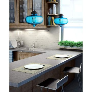 Fascinating colorful glass pendant lamps ideas for your kitchen 35