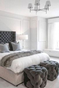 Modern tiny bedroom with black and white designs ideas for small spaces 05