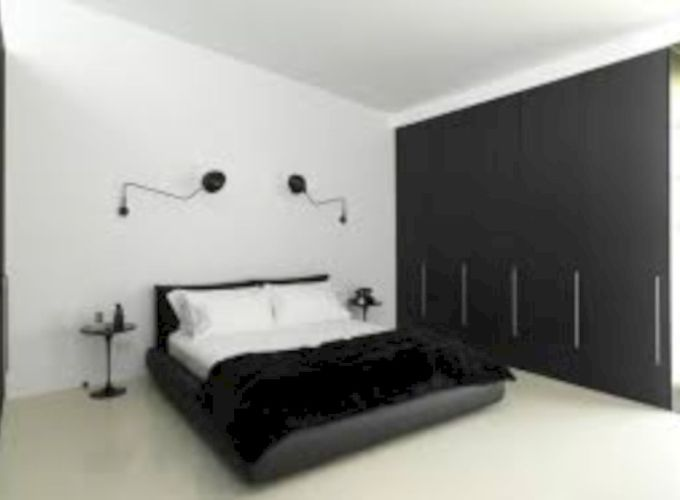 Modern tiny bedroom with black and white designs ideas for small spaces 17