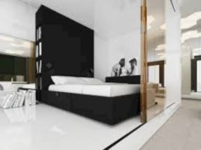 Modern tiny bedroom with black and white designs ideas for small spaces 19