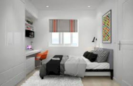 Modern tiny bedroom with black and white designs ideas for small spaces 20