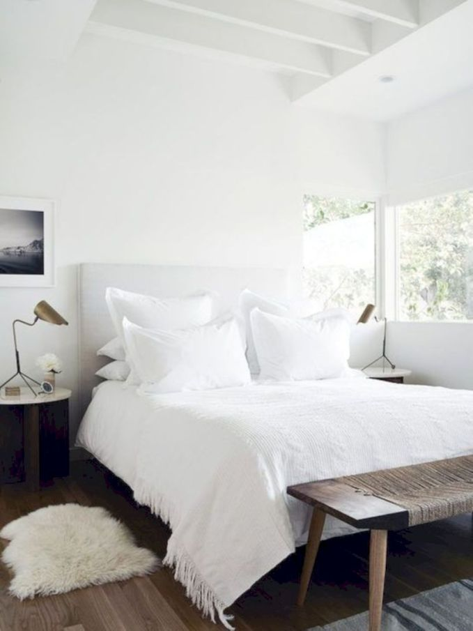 Modern tiny bedroom with black and white designs ideas for small spaces 21