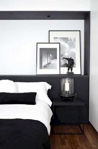 Modern tiny bedroom with black and white designs ideas for small spaces 28
