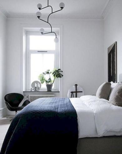 Modern tiny bedroom with black and white designs ideas for small spaces 40