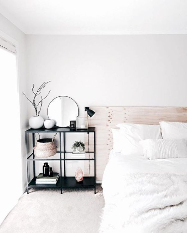 Modern tiny bedroom with black and white designs ideas for small spaces 46
