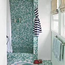 Shabby chic blue shower tile design ideas for your bathroom 12