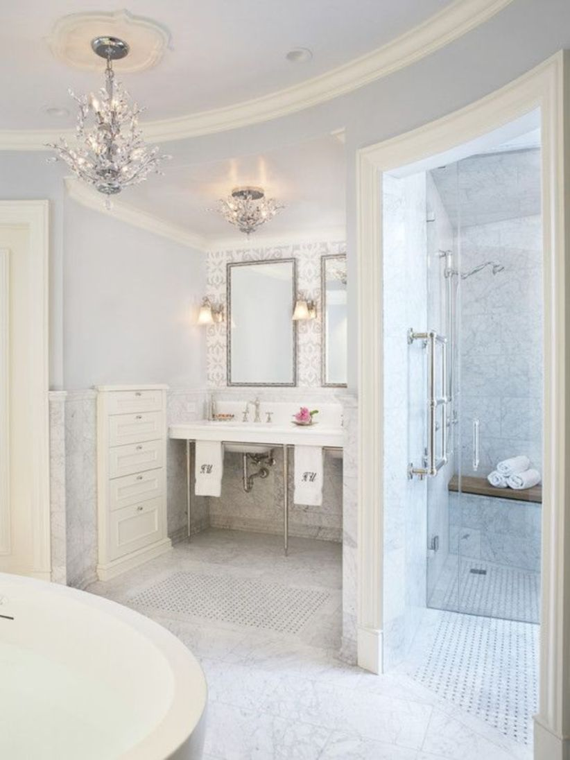 Shabby chic blue shower tile design ideas for your bathroom 15