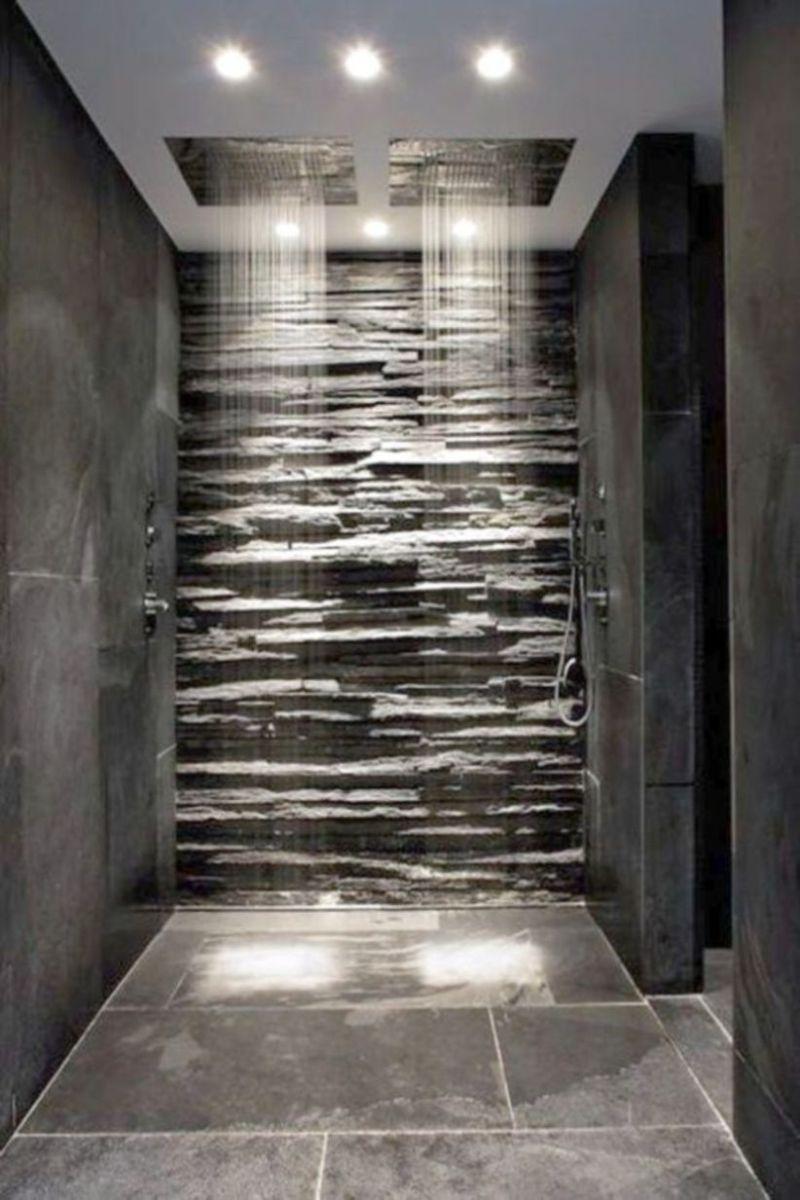Shabby chic blue shower tile design ideas for your bathroom 23