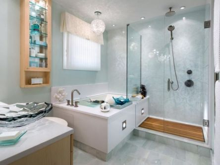 Shabby chic blue shower tile design ideas for your bathroom 25
