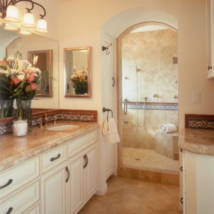 Shabby chic blue shower tile design ideas for your bathroom 37