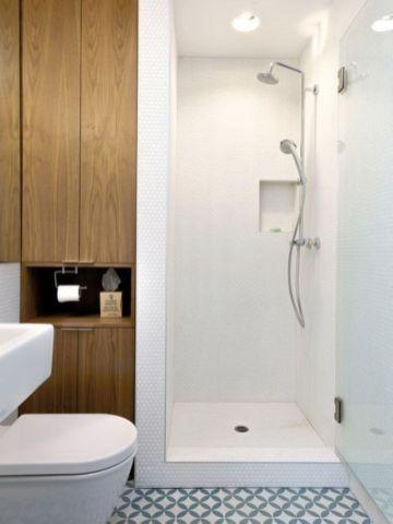 Shabby chic blue shower tile design ideas for your bathroom 39