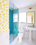 Shabby chic blue shower tile design ideas for your bathroom 43