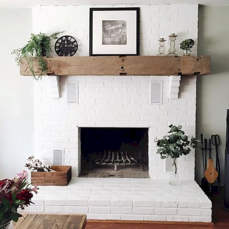 Attractive painted brick fireplaces ideas 13