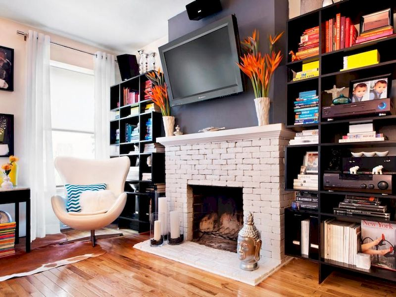 Attractive painted brick fireplaces ideas 19