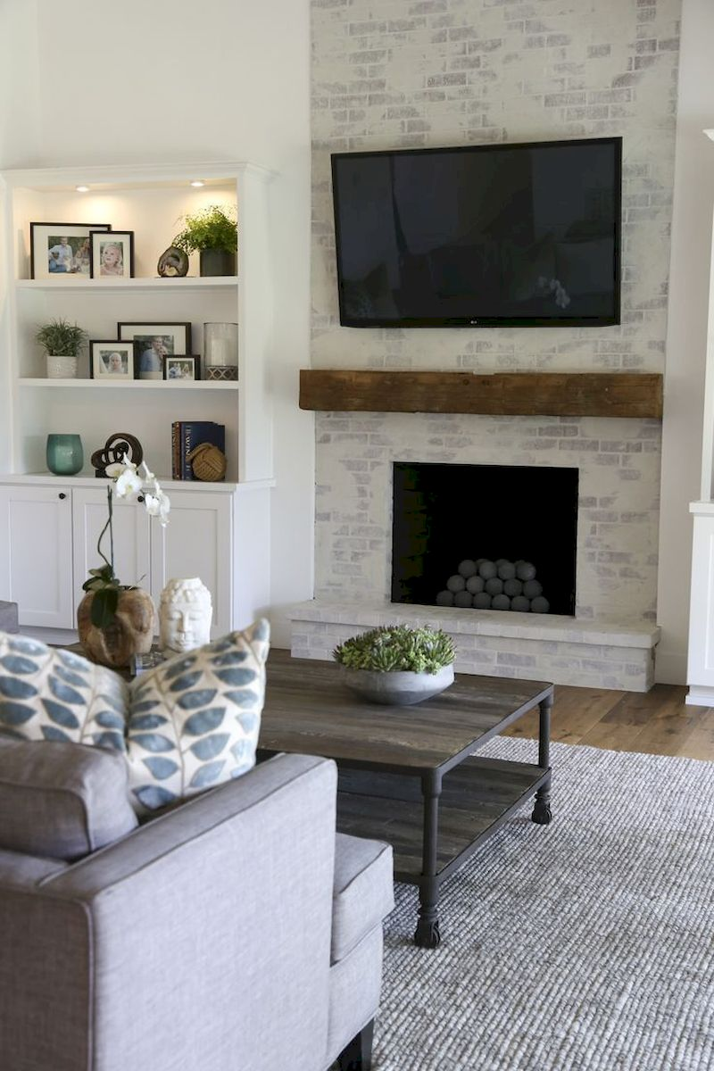 Attractive painted brick fireplaces ideas 27
