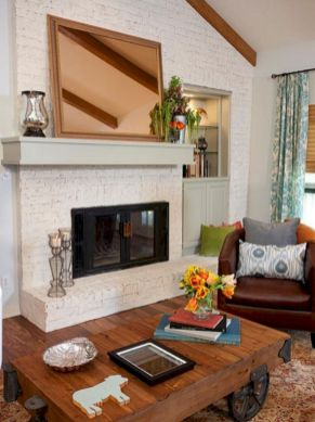 Attractive painted brick fireplaces ideas 33