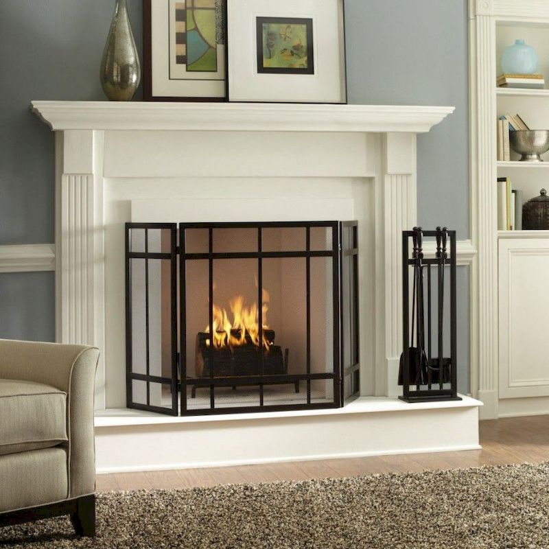 Attractive painted brick fireplaces ideas 42