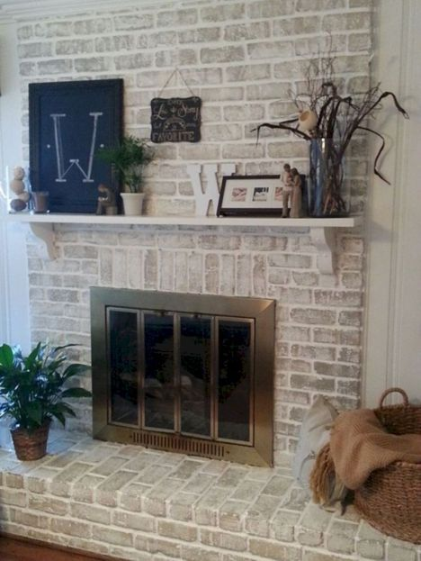 Attractive painted brick fireplaces ideas 44