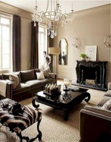 Awesome living room paint ideas by brown furniture 05