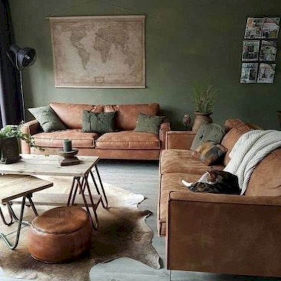 Awesome living room paint ideas by brown furniture 15