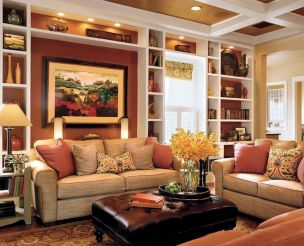 Awesome living room paint ideas by brown furniture 37