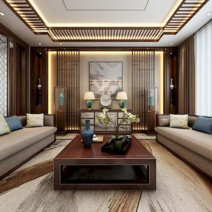 Impressive chinese living room decor ideas 18