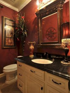 Magnificient red wall design ideas for bathroom 02