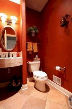Magnificient red wall design ideas for bathroom 08