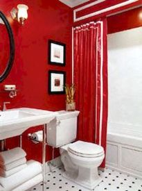 Magnificient red wall design ideas for bathroom 09
