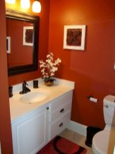 Magnificient red wall design ideas for bathroom 13