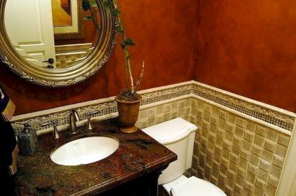 Magnificient red wall design ideas for bathroom 20