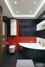 Magnificient red wall design ideas for bathroom 22