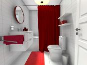 Magnificient red wall design ideas for bathroom 29