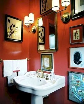 Magnificient red wall design ideas for bathroom 33