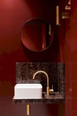 Magnificient red wall design ideas for bathroom 38