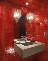 Magnificient red wall design ideas for bathroom 39