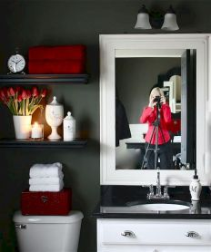 Magnificient red wall design ideas for bathroom 41