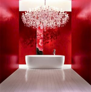 Magnificient red wall design ideas for bathroom 44